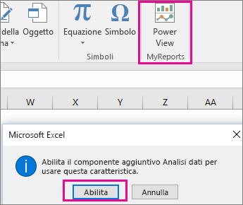 Pulsante personalizzato di visualizzazione pivot e finestra di dialogo che attiva il componente aggiuntivo in Excel
