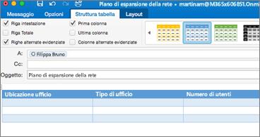 Messaggio con una tabella e la scheda Struttura tabella visibile sulla barra multifunzione