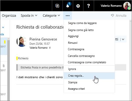 Screenshot di un messaggio di posta elettronica con Altri comandi > Crea regola selezionato.