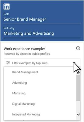 Esempi di filtro da competenze principali: fare clic su elenco a discesa
