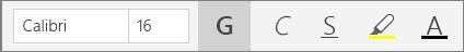 Pulsanti di formattazione del testo sulla barra multifunzione del menu Home di OneNote per Windows 10.
