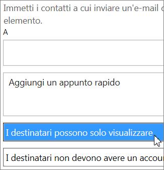 Opzione Può visualizzare nella finestra di dialogo Invita utenti