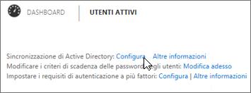 Scegliere Configura accanto a Sincronizzazione di Active Directory