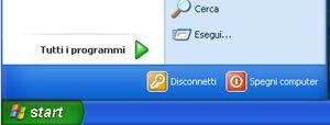 Pulsante Start e comando Esegui di Windows XP