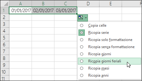 Inserire Calendario In Excel.Creare Un Elenco Di Date Sequenziali Supporto Di Office