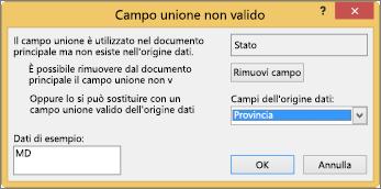 Casella Campo unione non valido