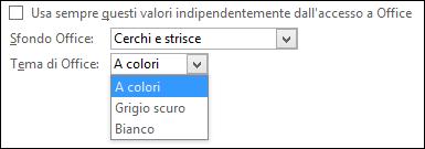 Menu a discesa Tema di Office, con le opzioni A colori e Bianco