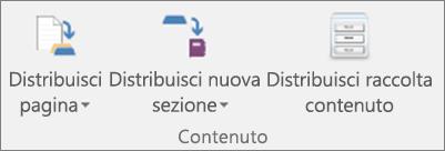 Icone nella scheda Blocco appunti della classe, con Distribuisci pagina, Distribuisci nuova sezione e Distribuisci raccolta contenuto.