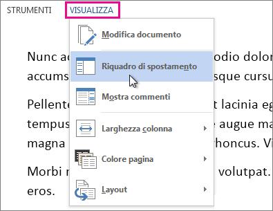 Immagine del menu Visualizza in modalità di lettura con l'opzione Riquadro di spostamento selezionata.