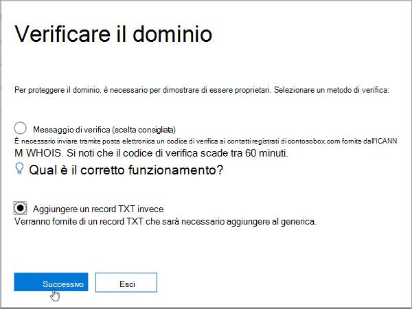 Selezionare Domainnameshop Aggiungi TXT invece in Office 365_C3_2017627999