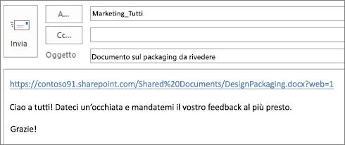 Scrittura di un messaggio di posta elettronica contenente un collegamento