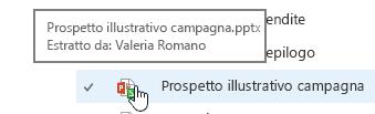 popup quando si passa il mouse sull'icona dei documenti