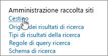 Impostazioni sotto l'intestazione Amministrazione raccolta siti con Cestino evidenziato