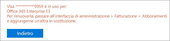 """Screenshot del messaggio di errore che viene visualizzato se si usa la carta per pagare un abbonamento attivo: """"[Numero carta] è in uso per: [Nome abbonamento]"""""""