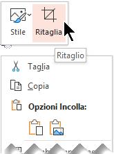 Il pulsante Ritaglia viene visualizzato sopra o sotto il menu a comparsa