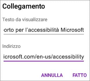 Finestra di dialogo Aggiungi collegamento ipertestuale in OneNote per Android
