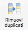 Pulsante Rimuovi duplicati