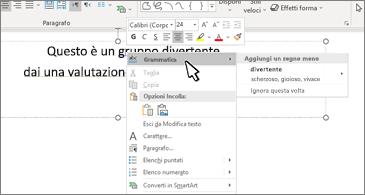 Documento di Word con errore di ortografia sottolineato e suggerimento di correzione
