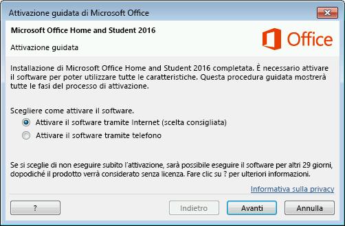 Visualizza l'Attivazione guidata di Microsoft Office