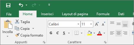 Barra multifunzione con il tema a colori in Excel 2016