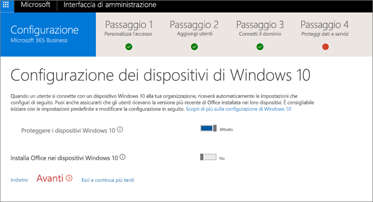 Screenshot della pagina Prepara i dispositivi Windows 10