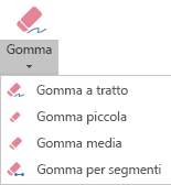 PowerPoint per Office 365 include quattro gomme per l'input penna.
