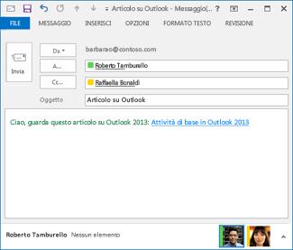 Testo del collegamento ipertestuale modificato in un messaggio di posta elettronica