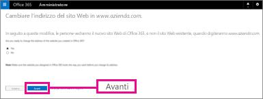 Nella pagina Cambiare l'indirizzo del sito Web scegliere Avanti
