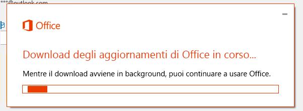 Finestra di dialogo Download degli aggiornamenti di Office