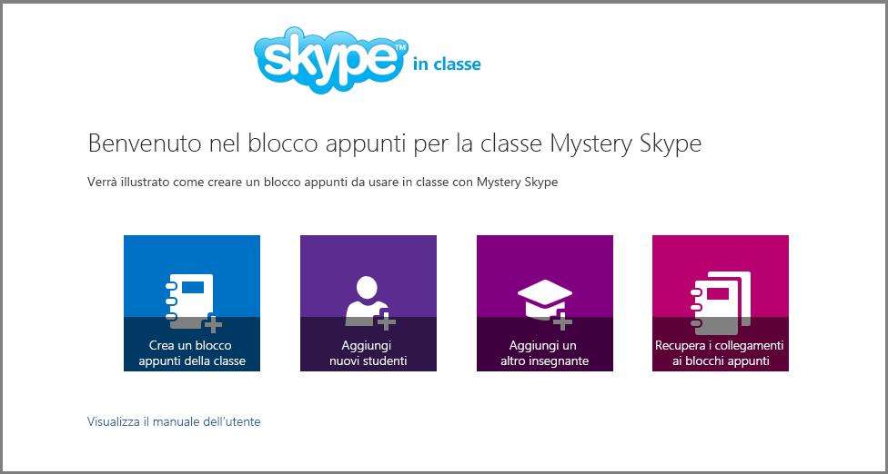 Schermata di benvenuto di Mystery Skype