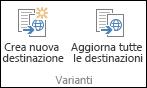 Due icone della scheda Varianti della barra multifunzione. La prima è Crea nuova destinazione, la seconda è Aggiorna tutte le destinazioni.