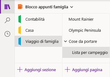 Interfaccia di navigazione in OneNote per Windows 10