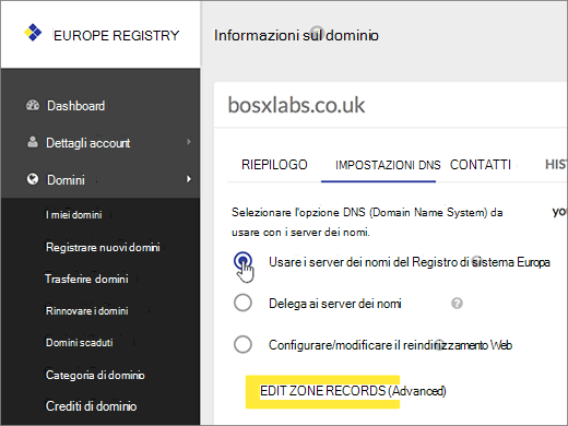 Selezionare Use Europe Registry Name Servers