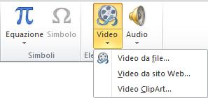Pulsante sulla barra multifunzione per inserire un video online in PowerPoint 2010