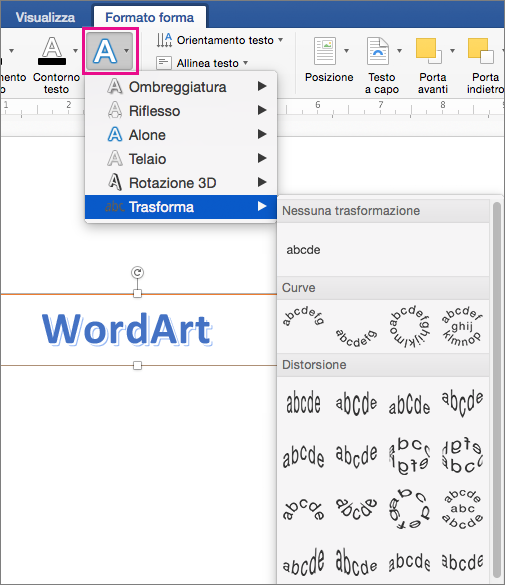 Scheda Formato forma con l'opzione Effetti testo evidenziata.