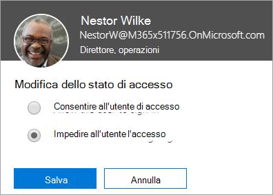Screenshot della finestra di dialogo Stato accesso in Office 365