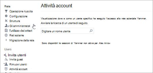 Screenshot dell'attività account per un utente senza sessioni Yammer attive (disconnesse)