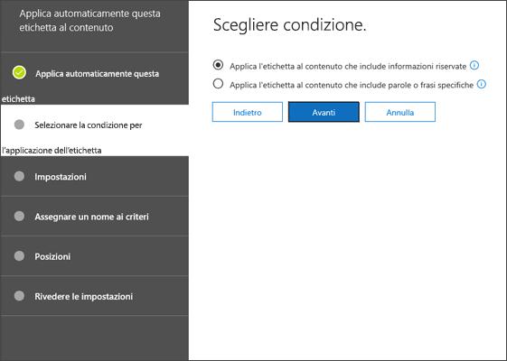 Pagina Scegli condizione per etichetta applicata automaticamente