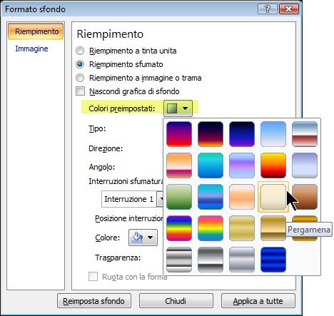 Per usare una sfumatura preimpostata, selezionare Colori preimpostati e quindi selezionare un'opzione.