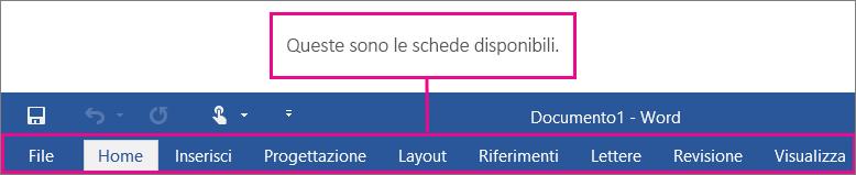 Immagine delle schede della barra multifunzione di Word.