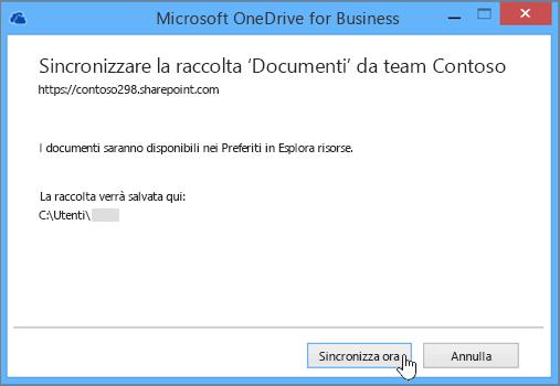 Scegliere il pulsante Sincronizza ora per avviare la sincronizzazione dei file dal sito del team al desktop.