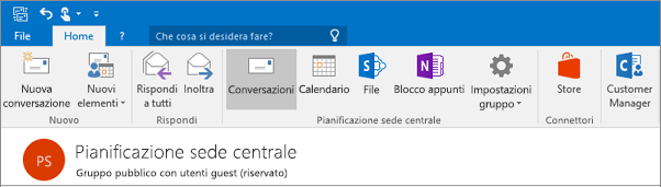 Si tratta di è simile all'intestazione di gruppo in Outlook 2016