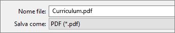 Scegliere il formato PDF nella casella Tipo file.