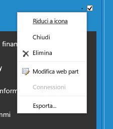 Menu Web part per selezionare Modifica web part
