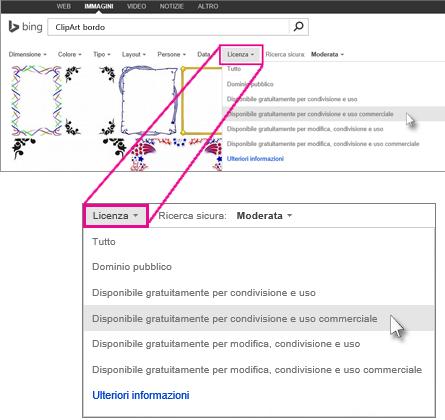 Cercare una ClipArt bordo usando il filtro Licenza