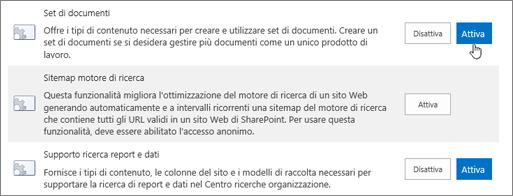 Esempi di caratteristiche della raccolta theSite che è possibile rendere attivi per SharePoint