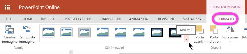 La scheda Formato dispone di una raccolta di Stili immagine