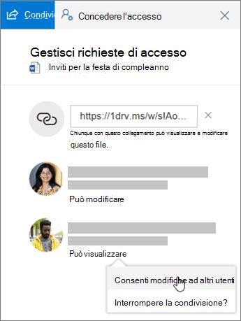 Screenshot della sezione Condivisione del riquadro dei dettagli di un file condiviso.