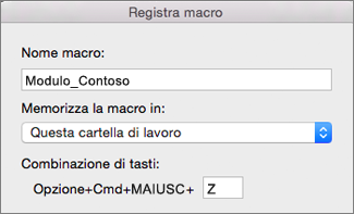Modulo di registrazione macro di Excel per Mac