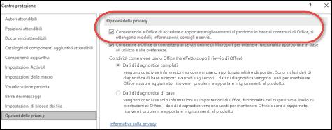 Finestra di dialogo Opzioni della privacy che mostra dove abilitare o disabilitare i servizi cloud per Office.